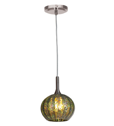 Access Lighting Safari 1 Light Pendant in Brushed Steel 23651-BS/GRO photo
