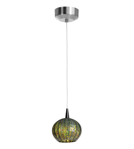 Access Lighting Safari 1 Light Pendant in Brushed Steel 23653-BS/GRO photo
