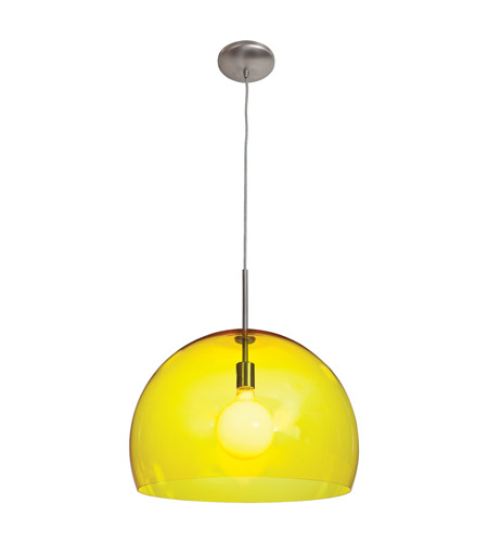 Access Lighting Acrolite 1 Light Pendant in Brushed Steel 23760-BS/AYEL photo
