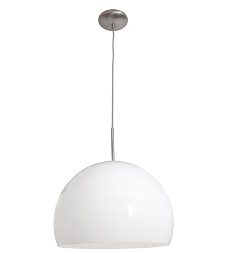 Access Lighting Acrolite 1 Light Pendant in Brushed Steel 23760-BS/WHT photo
