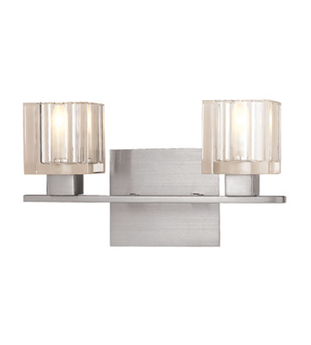 Access Lighting Astor 2 Light Vanity in Brushed Steel with Inner Frosted Crystal Glass 23832-BS/FCL photo