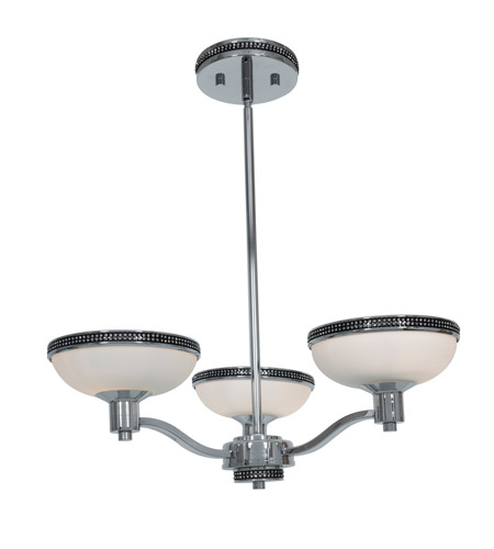 Access Lighting Onyx 3 Light Chandelier in Chrome with Opal Glass 23869-CH/OPL photo
