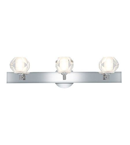 Access Lighting Glase 3 Light Crystal Chrome Wall/Vanity in Chrome with Inner Frosted Crystal Glass 23911-CH/FCL photo