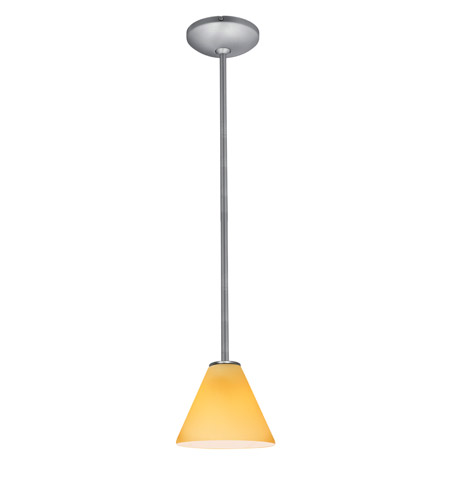 Access 28004-1R-BS/AMB Janine 1 Light 7 inch Brushed Steel Pendant Ceiling Light in Amber, Incandescent, Rod photo