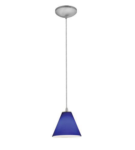Access 28004-2C-BS/COB Tali 1 Light 7 inch Brushed Steel Pendant Ceiling Light in Cobalt, Fluorescent, Cord photo