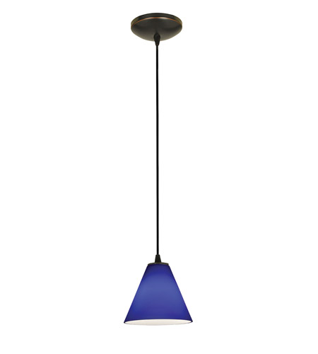 Access Lighting Tali 1 Light Oriental Glass Pendant in Oil Rubbed Bronze with Cobalt Glass 28004-2C-ORB/COB photo