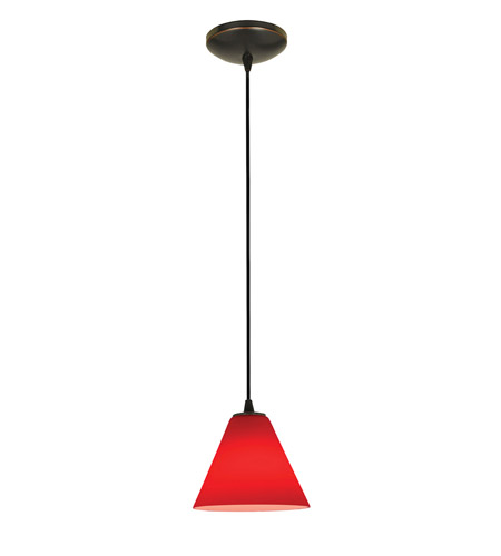 Access 28004-2C-ORB/RED Tali 1 Light 7 inch Oil Rubbed Bronze Pendant Ceiling Light in Red, Fluorescent, Cord photo