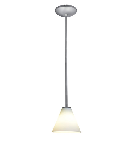 Access Lighting Julia 1 Light Oriental Glass Pendant in Brushed Steel with White Glass 28004-2R-BS/WHT photo