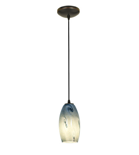 Access Lighting Sydney 1 Light Glass Pendant in Oil Rubbed Bronze with Blue Sky Glass 28011-1C-ORB/BLUSKY photo
