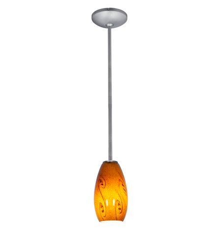 Access 28011-1R-BS/ASKY Janine 1 Light 4 inch Brushed Steel Pendant Ceiling Light in Amber Sky, Incandescent, Rod photo