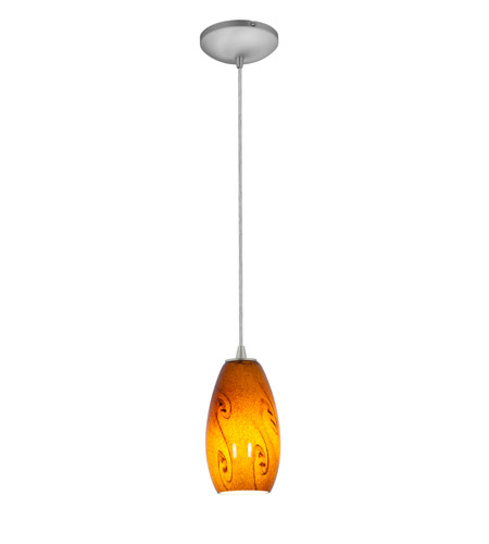 Access 28011-2C-BS/ASKY Tali 1 Light 4 inch Brushed Steel Pendant Ceiling Light in Amber Sky, Fluorescent, Cord photo