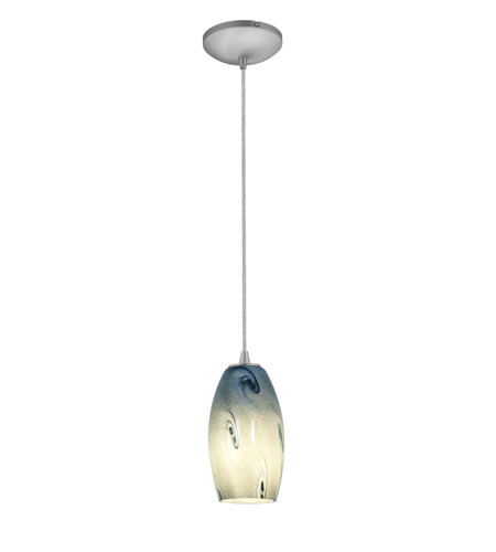 Access Lighting Tali 1 Light Glass Pendant in Brushed Steel with Blue Sky Glass 28011-2C-BS/BLUSKY photo