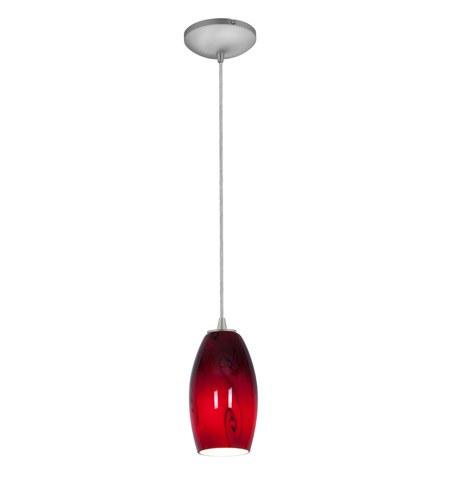 Access 28011-2C-BS/RUSKY Tali 1 Light 4 inch Brushed Steel Pendant Ceiling Light in Red Sky, Fluorescent, Cord photo