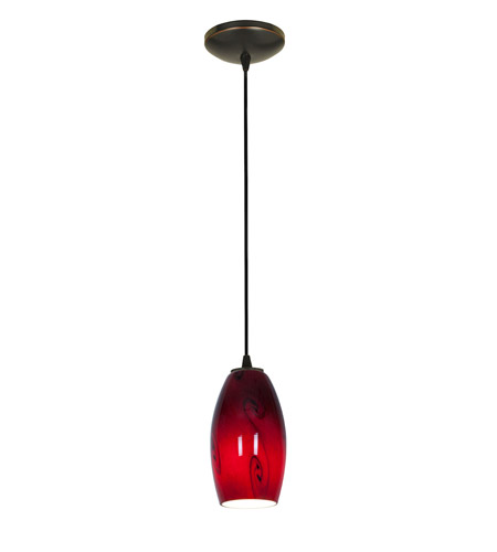 Access Lighting Tali 1 Light Glass Pendant in Oil Rubbed Bronze with Ruby Sky Glass 28011-2C-ORB/RUSKY photo