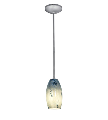 Access Lighting Julia 1 Light Glass Pendant in Brushed Steel with Blue Sky Glass 28011-2R-BS/BLUSKY photo