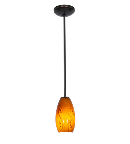 Access 28011-2R-ORB/ASKY Julia 1 Light 4 inch Oil Rubbed Bronze Pendant Ceiling Light in Amber Sky, Fluorescent, Rod photo