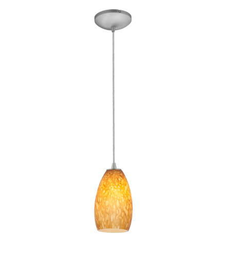 Access 28012-1C-BS/AMST Sydney 1 Light 5 inch Brushed Steel Pendant Ceiling Light in Amber Stone, Incandescent, Cord photo