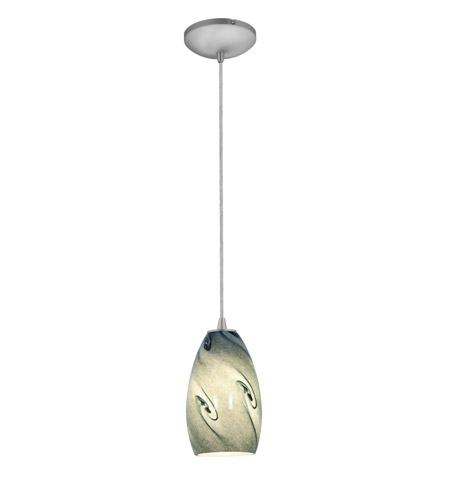 Access Lighting Sydney 1 Light Glass Pendant in Brushed Steel with Blue Sky Glass 28012-1C-BS/BLUSKY photo