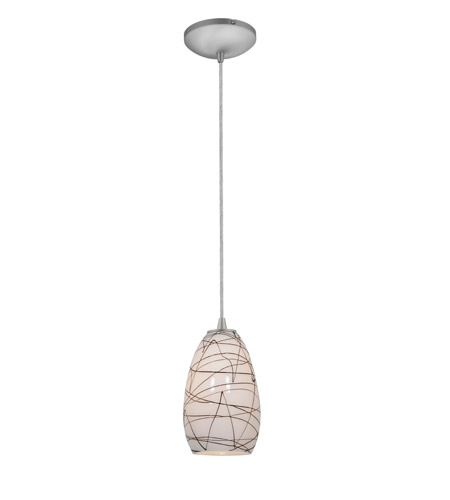 Access Lighting Sydney 1 Light Glass Pendant in Brushed Steel with Black on White Glass 28012-1C-BS/BLWH photo
