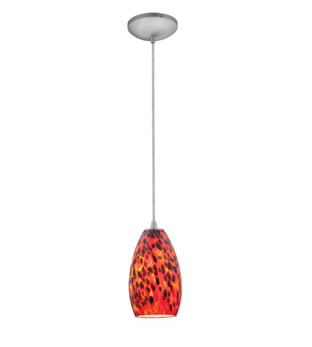 Access Lighting Sydney 1 Light Glass Pendant in Brushed Steel with Carnival Glass 28012-1C-BS/CRN photo