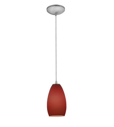 Access Lighting Sydney 1 Light Glass Pendant in Brushed Steel with Plum Glass 28012-1C-BS/PLM photo
