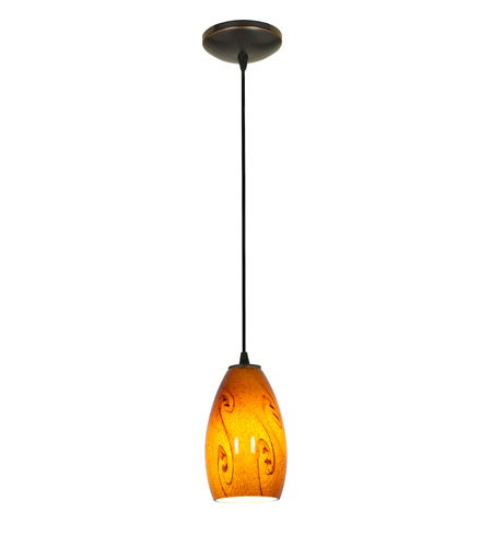 Access 28012-1C-ORB/ASKY Sydney 1 Light 5 inch Oil Rubbed Bronze Pendant Ceiling Light in Amber Sky, Incandescent, Cord photo