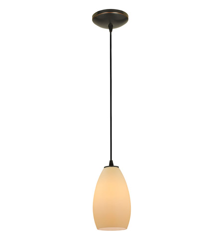 Access Lighting Sydney 1 Light Glass Pendant in Oil Rubbed Bronze with Crme Glass 28012-1C-ORB/CRM photo