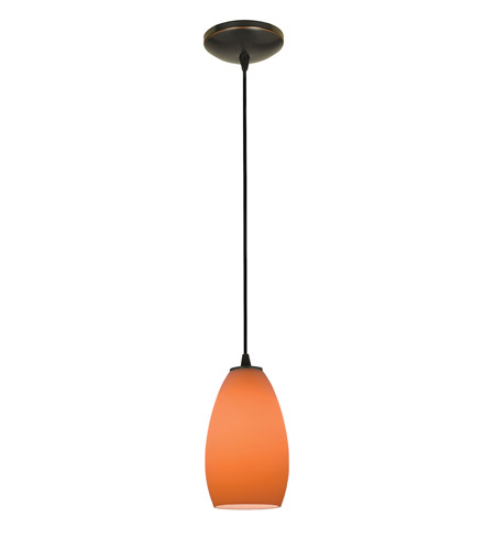 Access Lighting Sydney 1 Light Glass Pendant in Oil Rubbed Bronze with Orange Glass 28012-1C-ORB/ORG photo