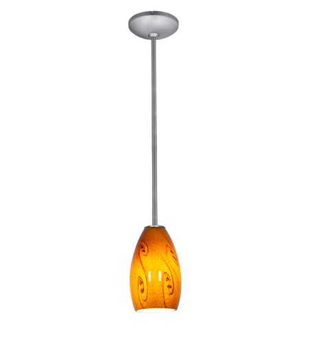 Access Lighting Janine 1 Light Glass Pendant in Brushed Steel with Amber Sky Glass 28012-1R-BS/ASKY photo