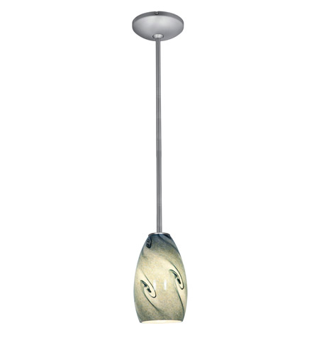 Access Lighting Janine 1 Light Glass Pendant in Brushed Steel with Blue Sky Glass 28012-1R-BS/BLUSKY photo