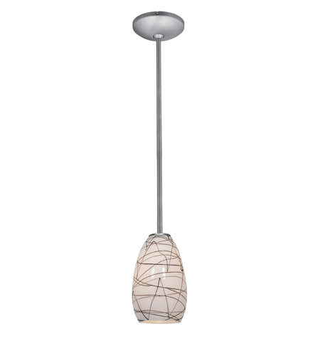 Access Lighting Janine 1 Light Glass Pendant in Brushed Steel with Black on White Glass 28012-1R-BS/BLWH photo