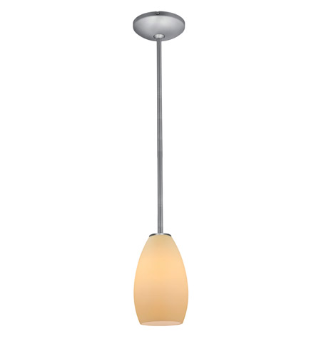 Access Lighting Janine 1 Light Glass Pendant in Brushed Steel with Crme Glass 28012-1R-BS/CRM photo