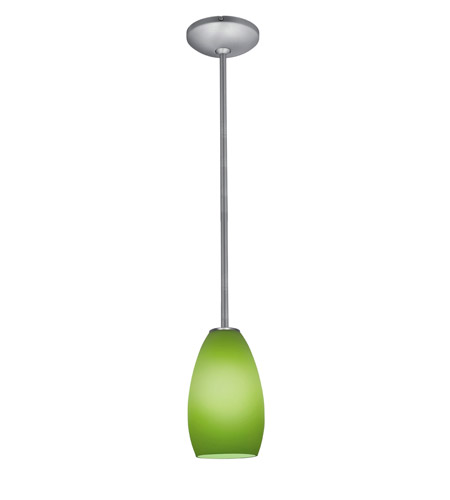 Access Lighting Janine 1 Light Glass Pendant in Brushed Steel with Light Green Glass 28012-1R-BS/LGR photo