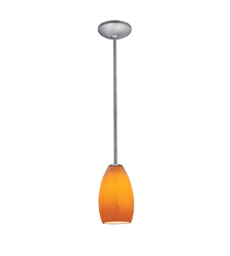 Access Lighting Janine 1 Light Glass Pendant in Brushed Steel with Maya Glass 28012-1R-BS/MYA photo