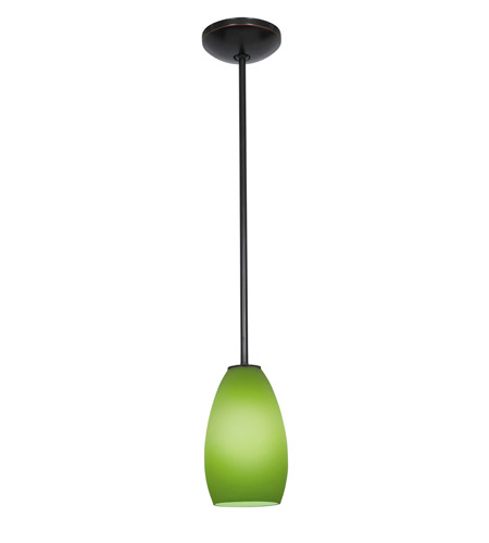 Access Lighting Janine 1 Light Glass Pendant in Oil Rubbed Bronze with Light Green Glass 28012-1R-ORB/LGR photo