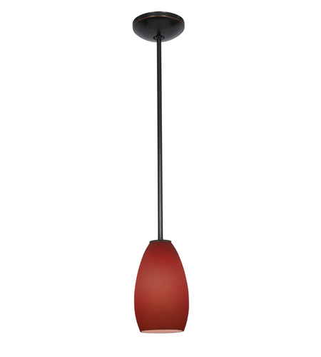 Access Lighting Janine 1 Light Glass Pendant in Oil Rubbed Bronze with Plum Glass 28012-1R-ORB/PLM photo