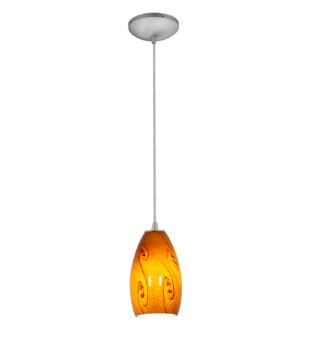 Access 28012-2C-BS/ASKY Tali 1 Light 5 inch Brushed Steel Pendant Ceiling Light in Amber Sky, Fluorescent, Cord photo