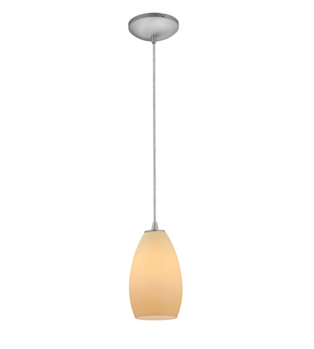 Access Lighting Tali 1 Light Glass Pendant in Brushed Steel with Crme Glass 28012-2C-BS/CRM photo