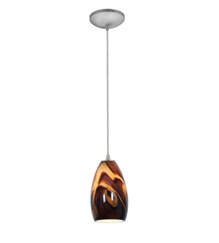 Access 28012-2C-BS/ICA Tali 1 Light 5 inch Brushed Steel Pendant Ceiling Light in Inca, Fluorescent, Cord photo