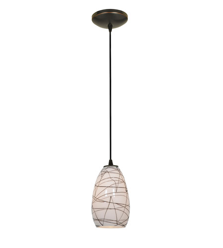 Access Lighting Tali 1 Light Glass Pendant in Oil Rubbed Bronze with Black on White Glass 28012-2C-ORB/BLWH photo