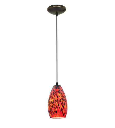 Access Lighting Tali 1 Light Glass Pendant in Oil Rubbed Bronze with Carnival Glass 28012-2C-ORB/CRN photo