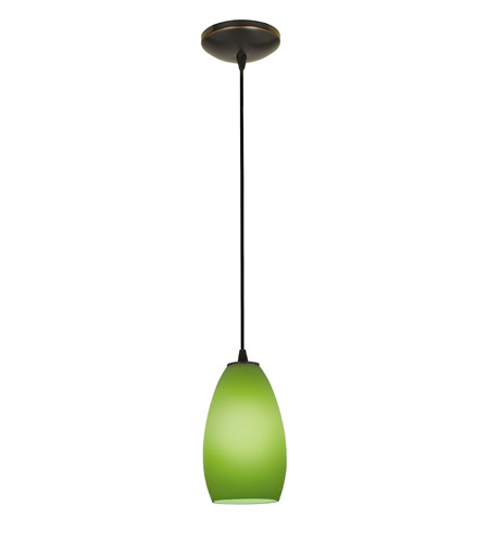 Access Lighting Tali 1 Light Glass Pendant in Oil Rubbed Bronze with Light Green Glass 28012-2C-ORB/LGR photo