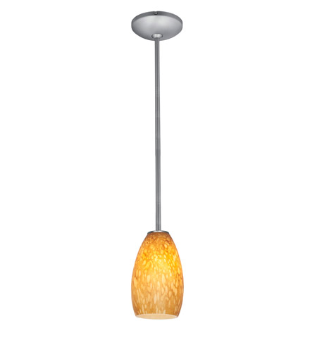 Access 28012-2R-BS/AMST Julia 1 Light 5 inch Brushed Steel Pendant Ceiling Light in Amber Stone, Fluorescent, Rod photo