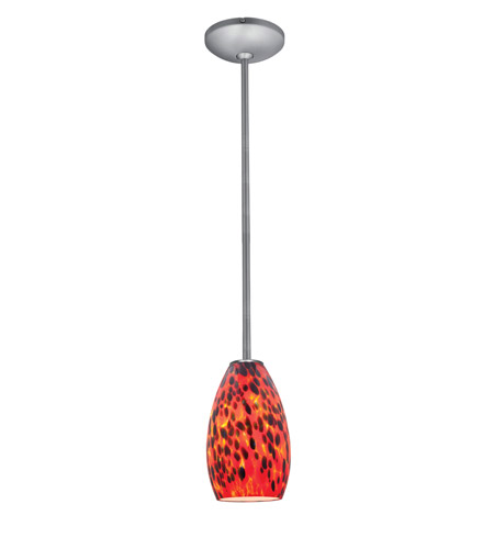 Access Lighting Julia 1 Light Glass Pendant in Brushed Steel with Carnival Glass 28012-2R-BS/CRN photo
