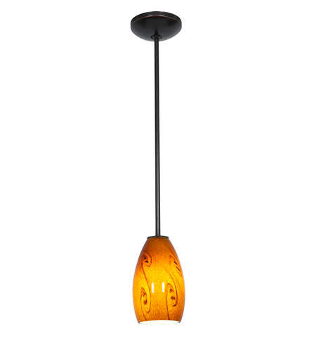 Access 28012-2R-ORB/ASKY Julia 1 Light 5 inch Oil Rubbed Bronze Pendant Ceiling Light in Amber Sky, Fluorescent, Rod photo