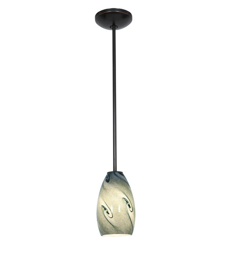 Access Lighting Julia 1 Light Glass Pendant in Oil Rubbed Bronze with Blue Sky Glass 28012-2R-ORB/BLUSKY photo