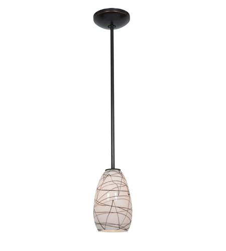 Access Lighting Julia 1 Light Glass Pendant in Oil Rubbed Bronze with Black on White Glass 28012-2R-ORB/BLWH photo