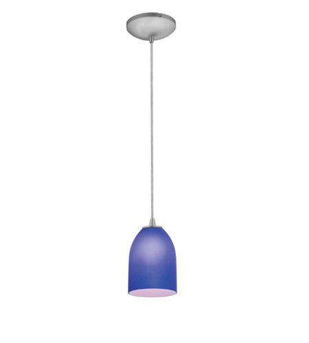 Access Lighting Sydney 1 Light Cone Glass Pendant in Brushed Steel with Cobalt Glass 28018-1C-BS/COB photo