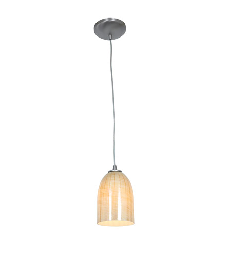 Access 28018-1C-BS/WAMB Sydney 1 Light 6 inch Brushed Steel Pendant Ceiling Light in Wicker Amber, Incandescent, Cord photo