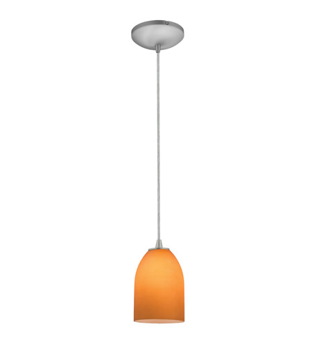 Access 28018-3C-BS/WAMB Bordeaux LED 5 inch Brushed Steel Pendant Ceiling Light in Wicker Amber photo